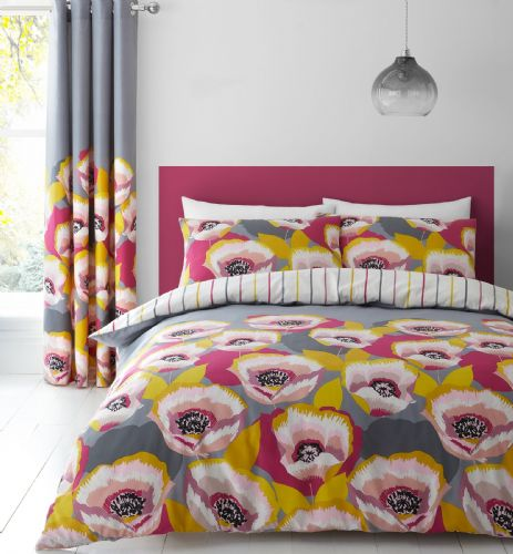 Catherine Lansfield Modernist Poppy Grey Bedding Set